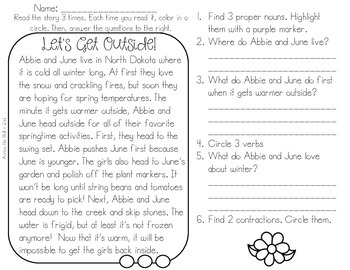 Interactive Comprehension {Spring and Summer Edition}