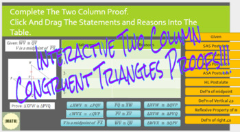 Interactive Congruent Triangle Two Column Proofs with Google Slides!!!