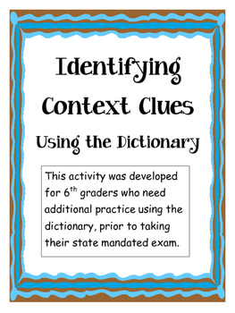 Interactive Context Clues - Dictionary Activity
