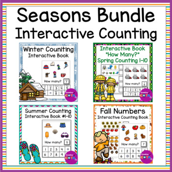 Interactive Numbers 1-10 Counting Books Seasons Bundle