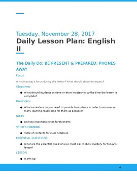 Interactive Daily Lesson Plan Template