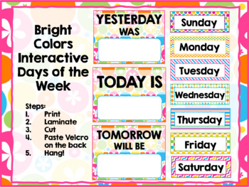 Interactive Days of the Week Chart Bright Neon Colors Theme Classroom Decor