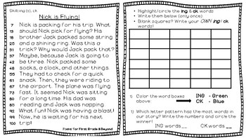 Interactive Decodable Reader/Printable Booklet - ING / CK