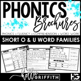 Short O and U Word Family Fluency Passages and Word Work - Phonics Brochures