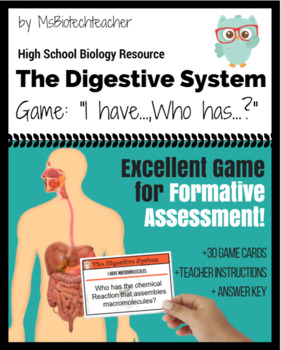 Digestive System-I have...Who has...? Card Game