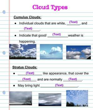 Interactive Digital Notebook: Clouds- Google Classroom Resource