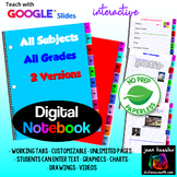 Digital Notebook for ANY Subject with GOOGLE® Slides with Tabs - Unlimited pages