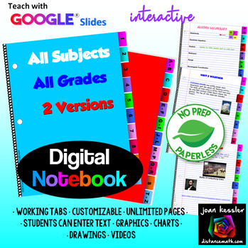 Interactive Digital Notebook with GOOGLE Slides for ANY subject