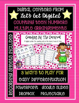 Interactive Digital Task Card Center - Counting Teens in Multiple Arrangements