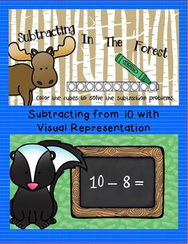 Interactive Digital Task Card Centers - Subtraction and Subtracting From 10