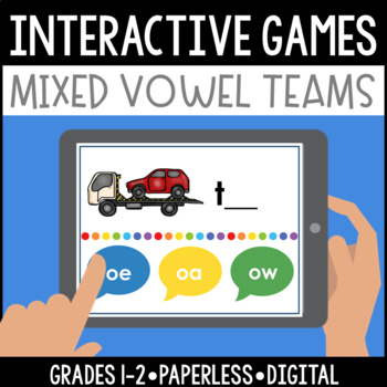 Interactive, Digital and Paperless Long A E I O U/Vowel Teams Games