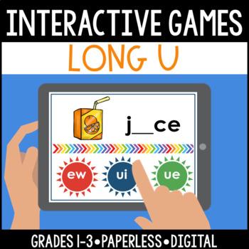 Interactive, Digital and Paperless Long U Vowel Teams Game: ew ui ue