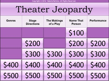 Interactive Drama/Theater Terms Jeopardy Game