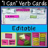 EDITABLE Board Set - Interactive I Can Statements w/Verbs - Black Polka Dots