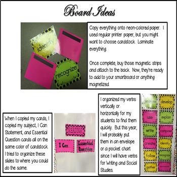 EDITABLE Board Set - Interactive I Can Statements w/Verbs - Black Chevron