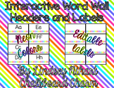 Interactive Editable Word Wall- Neon
