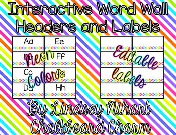 Interactive Editable Word Wall- Neon