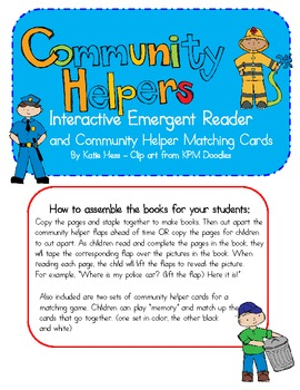 Interactive Emergent Reader & Matching Cards - Community Helpers