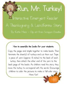 Interactive Emergent Reader - Run, Mr. Turkey! (Thanksgiving and Landforms)