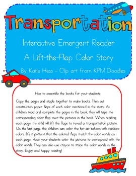 Interactive Emergent Reader - Transportation and Color Words
