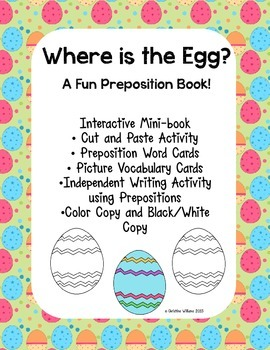 Interactive Emergent Reader, Where is the Egg? Preposition