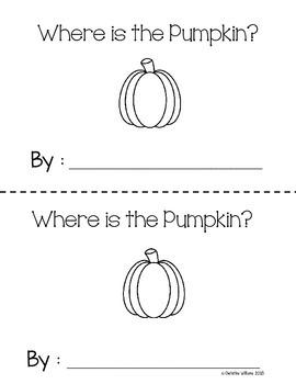 Interactive Emergent Reader, Where is the Pumpkin? Prepositions ESL