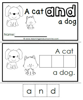 Interactive Emergent Sight Word Reader - a cat AND a dog