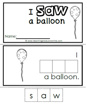 Interactive Emergent Sight Word Reader - i SAW a balloon