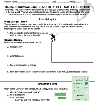 Interactive Energy Simulation: Skateboard Roller Coaster