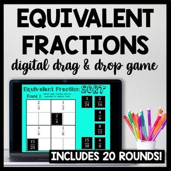 Equivalent Fraction Sort, Digital Game for Google Drive, Includes 12 Rounds!