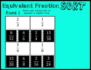 DIGITAL Equivalent Fraction Sort, Fraction Game for Google Drive, 4.NF.1