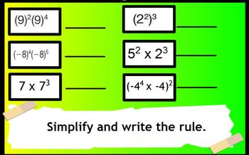 Interactive Exponents Flipchart - Common Core 8th grade