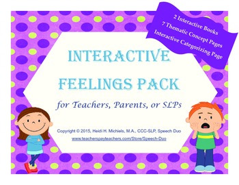 Interactive FEELINGS Books and Thematic Concept Activities