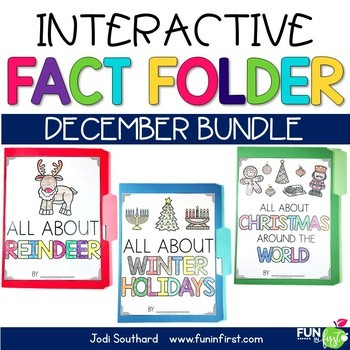 Interactive Fact Folder - December Bundle (Winter Holidays, Reindeer, Christmas)