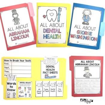 Interactive Fact Folder - February Bundle (Dental Health, Lincoln, & Washington)