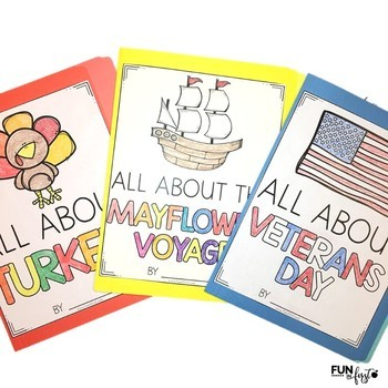 Interactive Fact Folder - November Bundle (Veterans Day, Turkeys, The Mayflower)