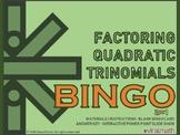 Interactive Factoring Quadratic Trinomials Bingo Game
