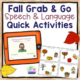 Fall Speech & Language - Quick Grab & Go Activities. Tablet Version + Task Cards