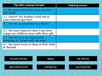 Interactive Figurative Language review or assessment! (Includes 12 questions)