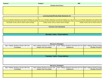 Interactive First Grade Social Studies Lesson Plan Template-Florida