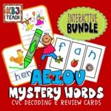 "PHONICS Interactive Segmenting Flashcards CVC ""Mystery Words"" (BUNDLE)"