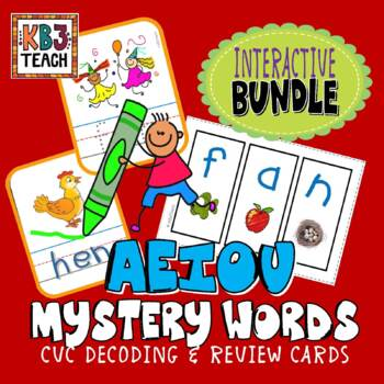 "PHONICS Interactive Segmenting Flashcards CVC ""Mystery Wor"