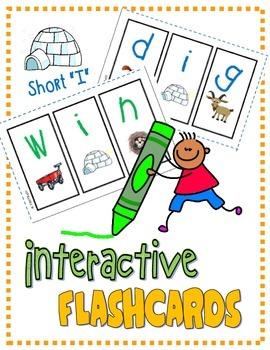 """PHONICS Interactive Segmenting Flashcards (CVC Short """"I"""")"""