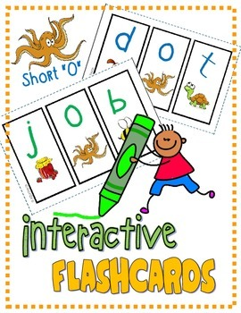"PHONICS Interactive Segmenting Flashcards (CVC Short ""O"") ""Mystery Words"""