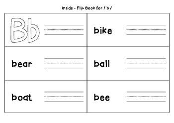 Interactive Flip Book - Alphabet B { freebie }
