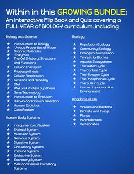 Interactive Flip Book and Quiz GROWING BUNDLE - Full Year Biology Curriculum