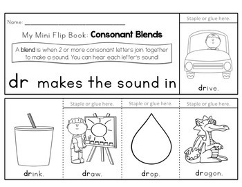 Consonant Blends and Digraphs Flip Books