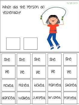 Interactive Flip book Regular Past Tense, Pronouns & Syntax (Speech/Language)