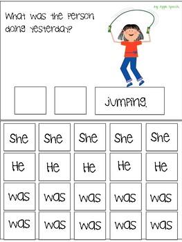 "Interactive Flip book verb ""WAS"" Sentence Creation & Syntax (Speech/Language)"