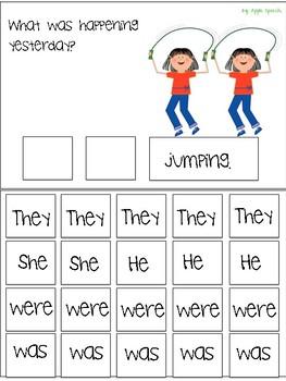 """Interactive Flip book verb """"WAS/WERE"""" Sentence Creation & Syntax (Speech/Lang)"""